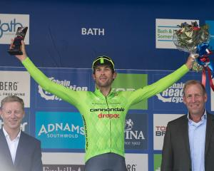 Jack Bauer after his stage victory at the Tour of Britain. Photo: Getty Images