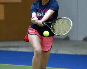 Bianka Shibuya, a Japanese exchange student, on her way to clinching the women's singles title at...