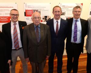 Celebrating 100 years of the Labour Party are (from left) Dunedin South MP Clare Curran, Dunedin...