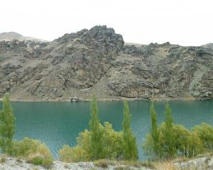 Lake Dunstan in the Clutha Gorge. The Cromwell-Clyde trail would be built along the rocky...