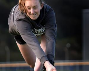 New Zealand Futures midfielder Maddi McLean cracks the ball during a hit around at the McMillan...