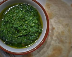 Nettle and roast garlic pesto. Photo by Simon Lambert.