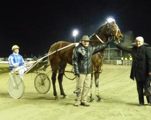 New Years Jay and driver Jonny Cox with Brian Anderton and Sandra Kennedy after her maiden win at...