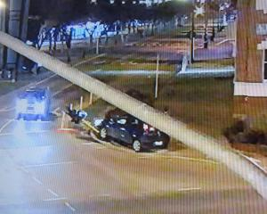 A driver hits a traffic light at the Severn St-Thames St intersection on Monday night. Photo...