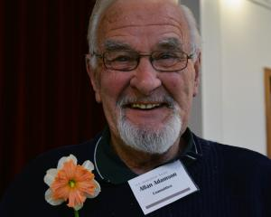 Allan Adamson displays one of his premier blooms at the North Otago Horticultural Society Spring...