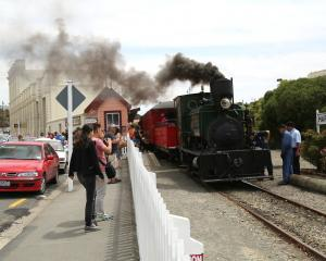 The Oamaru Steam and Rail Society's locomotive B10 pulls away from the Harbourside Station in...