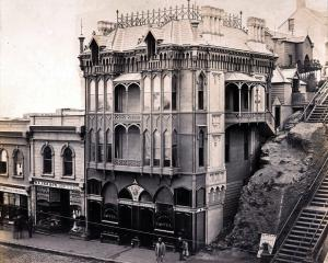 Dunedin's Oriental Hotel, on Princes St and what was to become the corner of Dowling St, in 1864....
