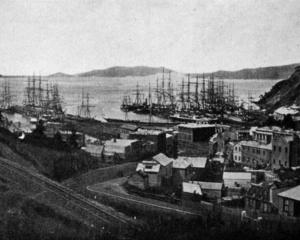 In the good old days of sailing ships: Port Chalmers wharves fully occupied with coastal and...