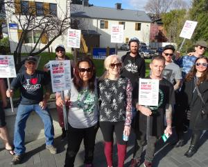 Stop the Arrests rally Queenstown organiser Te Aroha Knox (front left) and Helen Ferguson with...