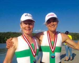 With their medals after wining at the world masters rowing championships in Copenhagen are Robyn...