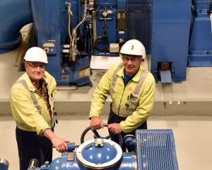 Roxburgh Dam generation technicians Don Nicolson (left) and Quentin McLean make sure the power...