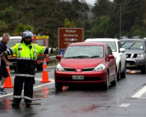 Traffic is turned around at Puhoi after a serious crash blocked State Highway 1 near Warkworth,...