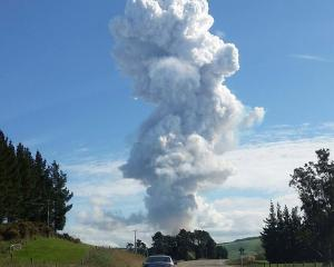 A smoke cloud towers above State Highway 1 near Milton yesterday.Photo by Stuart Gunn.