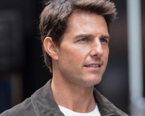 Tom Cruise on the set of the movie 'Oblivion' at the Empire State Building in New York City in...
