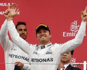 Nico Rosberg celebrates his victory. Photo Reuters