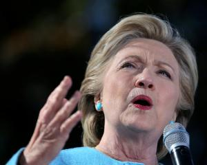 Hillary Clinton speaks during a campaign rally in Manchester, New Hampshire. Photo Reuters