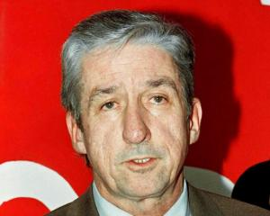 Tom Hayden announces his candidacy for mayor of Los Angeles during a news conference in January...