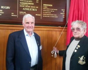 Sporting legends Stewart McKnight, now of Ranfurly, and Murray McSkimming, now of Waimate, unveil...