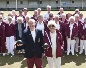 Tainui club stalwart Rex Sims celebrates his 50th year at the Tainui Bowling Club with wife Joan...