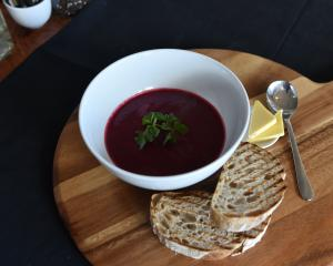 Tuppence Cafe's velvety beetroot soup. Photo by Peter McIntosh.