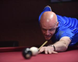 New Zealand's No1-ranked snooker player Neil Whalley playing at the South Island 10-ball pool...