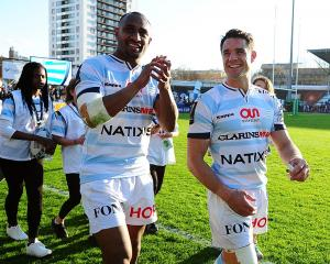 Joe Rokocoko (left) and Dan Carter after a Racing 92 game. Photo: Getty Images