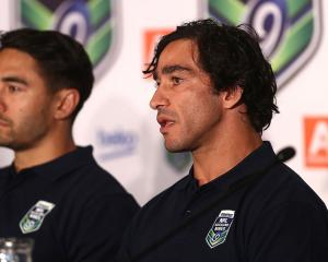 Johnathan Thurston (R) and Shaun Johnson at the 2017 NRL Nines launch. Photo: Getty Images