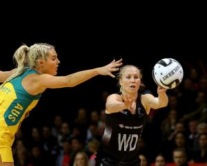Laura Langman (R) made her final appearance for the Silver Ferns against Australia last night....