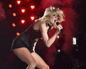 Taylor Swift performs on stage during the US Grand Prix in Austin, Texas. Photo Getty