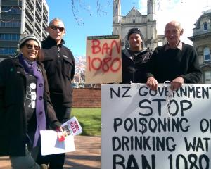 Stop the Drop 1080 protesters (from left) Greenwitch, Jon Vaudrey, Lyle Cottenden and David Denny...