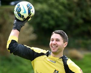 Southern United goalkeeper Liam Little practises at Logan Park this week. Photo: Peter McIntosh.
