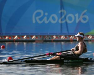 Mahe Drysdale of New Zealand competes in the Men's Single Sculls Heats. Photo: Reuters