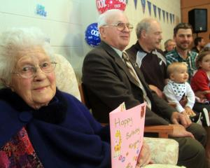 Celebrating yesterday are Mirabel O'Brien, her oldest son Eric (77), her oldest grandson Nelson ...