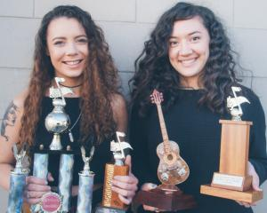 Musical duo Just Us, Teisha Seymour (left) and Karina Murray-Dodd, won the senior overall award...