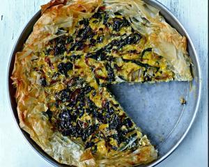 Silverbeet, rice and feta pie. Photo by SImon Lambert.