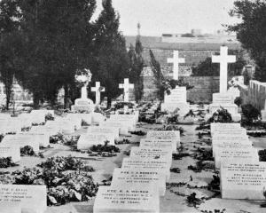Headstones erected over the graves of New Zealand and other soldiers buried in Pieta cemetery,...