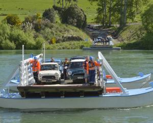 Tuapeka Mouth Ferry operators Niel Sowry (left)  and Terry Stride guide a precious load of Minis...