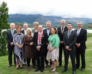 The new Queenstown Lakes District Council after being sworn in at a meeting at the Lake Hayes...