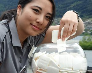 Hilton Queenstown housekeeper Maya Kakegawa with some of the 150kg of used soap the hotel has...