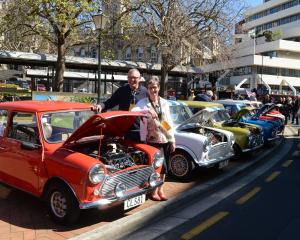 Mini owners Tony Bryson and his partner Trish Palmer stand with their 1981 Leyland Mini 1000 in...