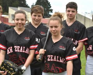 Otago softballers (from left) Will Bathgate (14), Maeve Witchell (14), Callum Rowley (14), Heaven...