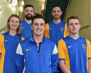Team captains (from left) Annabelle Gilchrist (women's team), Sean McIntee (futsal), Sean Hamill ...