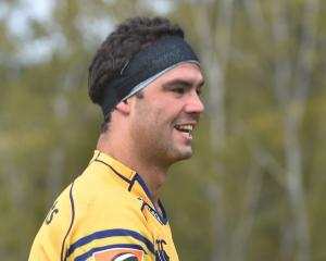 Otago lock Tom Franklin at training yesterday. Photo by Peter McIntosh.