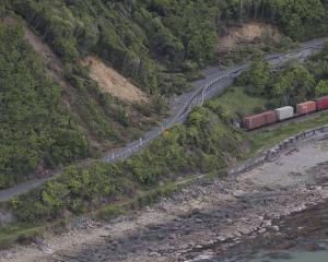 A freight train north of Kaikoura, stranded since the quake. Photo: Getty Images