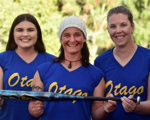 Otago softball players (from left) Shayla Rowley, Jackie Padman and Kirsty Currie at the Kaikorai...