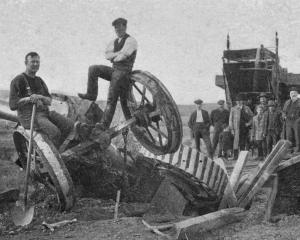 This traction engine upended on the Greenvale road at Waikaka when a bridge collapsed under its...
