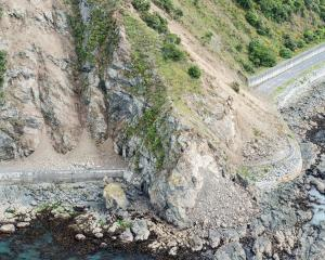 One of the landslips blocking State Highway 1 near Kaikoura. Photo: ODT files