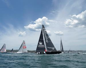 Yachts  (from left)  Scallywag, Wild Oats XI, Perpetual Loyal and Beau Geste race during the Big...