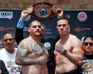 Mexican Andy Ruiz jun (left) and New Zealander Joseph Parker both look staunch at yesterday's...