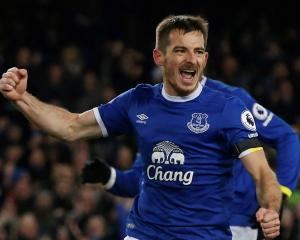 Everton's Leighton Baines celebrates his goal against Manchester United. Photo Reuters